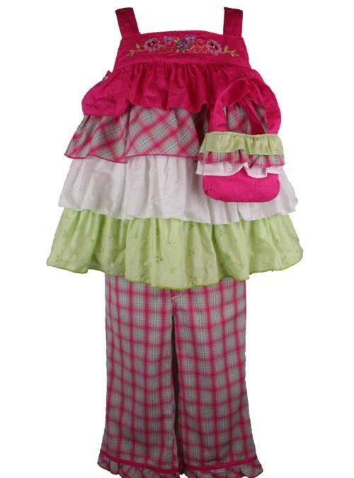 B T Kids Girls Fuchsia Plaid Capri Pant Set