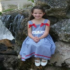 Blue Gingham Ladybug Dress-Made in the USA