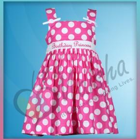 Pink Polka Dot Girls Birthday Dress from Treasure Box Kid