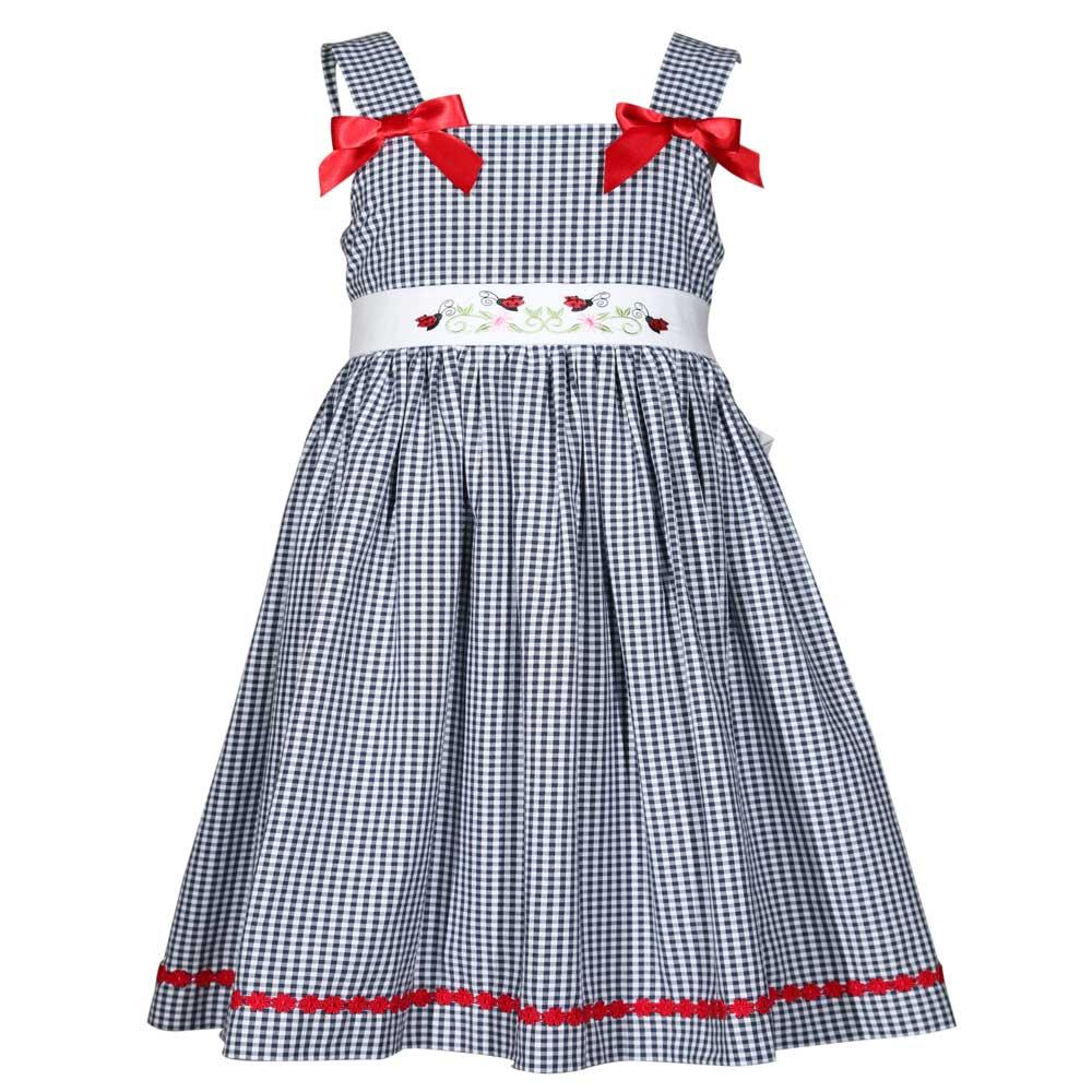 Treasure Box Kids Little Girls Blue Gingham Ladybug Dress