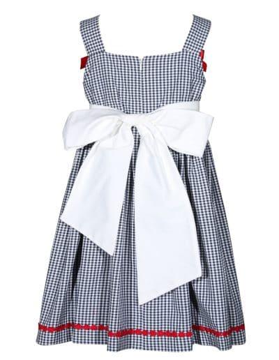 Treasure Box Kids Girls Blue and White Gingham Ladybug Dress