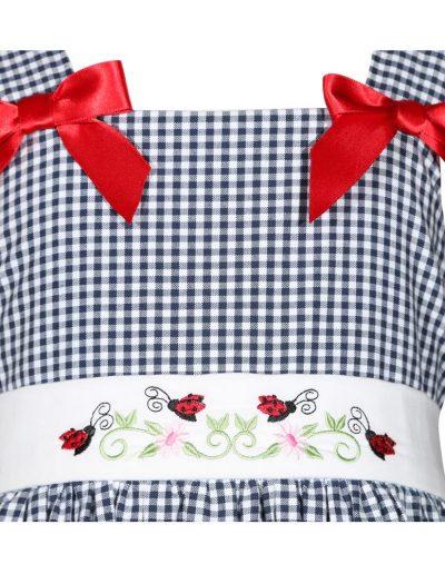 Blue and White Gingham Little Girls Ladybug Dress