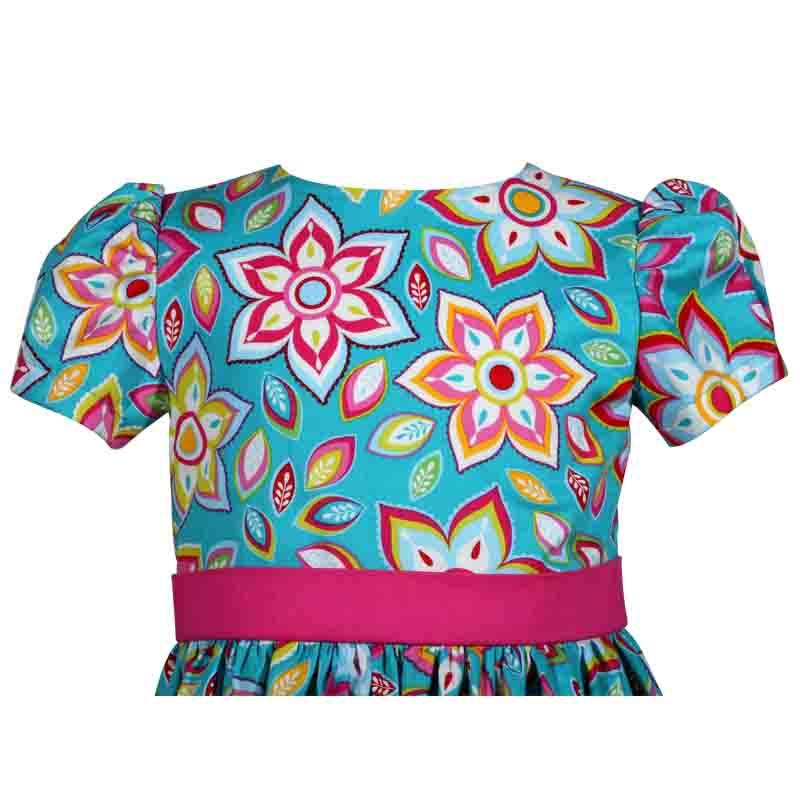 Aqua Blue Floral Victoria Girls Dress