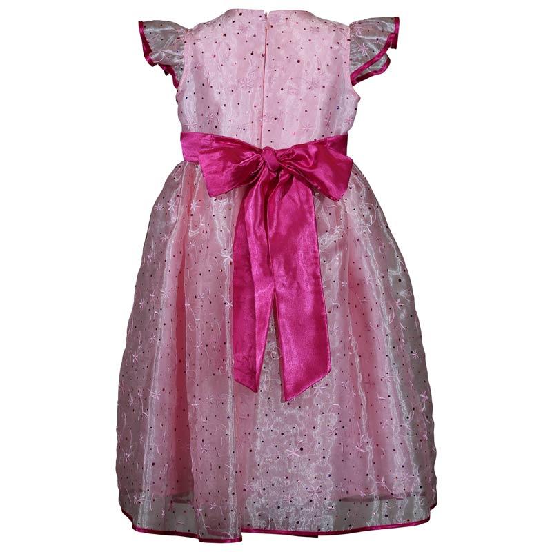 Girls Pink Sparkle princess Birthday Dress Back