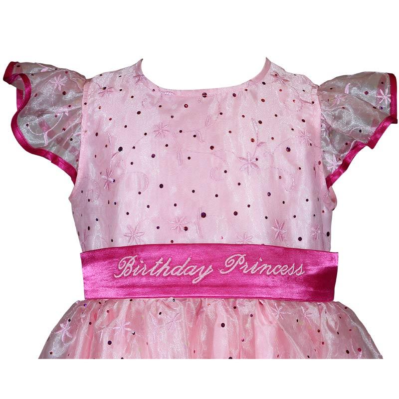 Girls Pink Sparkle Princess Birthday Dress Front