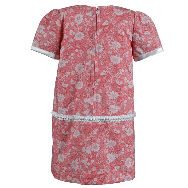 Little Girls Coral Short Sleeve Floral Cotton Dress Treasure Box Kids