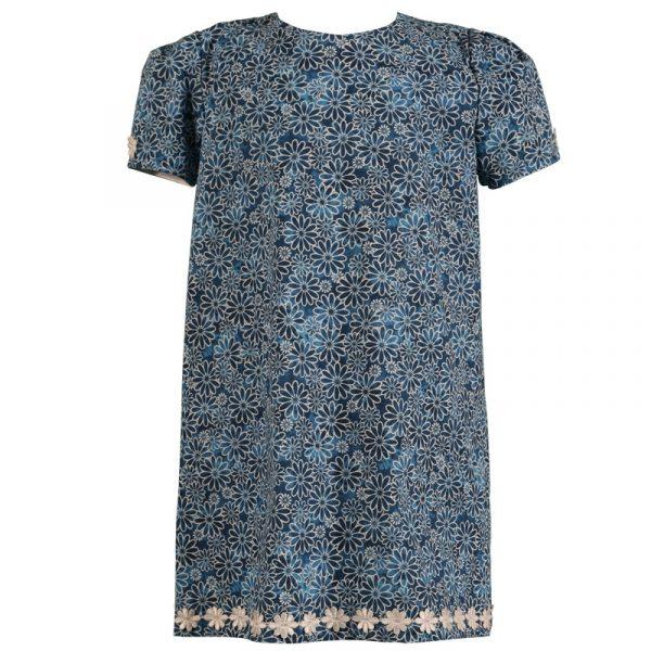 Little Girls Navy Blue Short Sleeve Daisy Cotton Dress Treasure Box Kids
