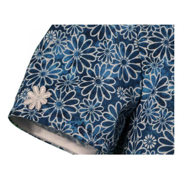 little girls navy blue short sleeve daisy cotton dress a