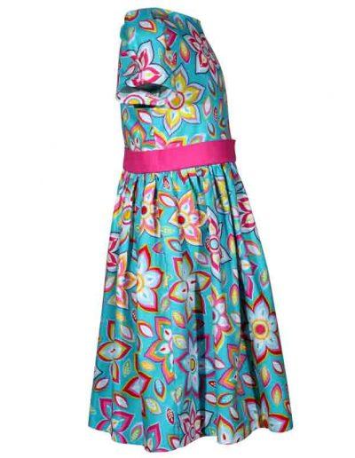 Treasure Box Kids Aqua Blue Floral Bloom Victoria Dress