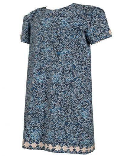little girls navy blue short sleeve daisy cotton dress b