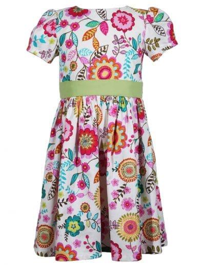 multi colored floral cotton victoria little girls dress