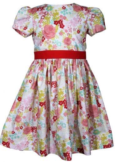 pink rose floral cotton victoria little girls dress