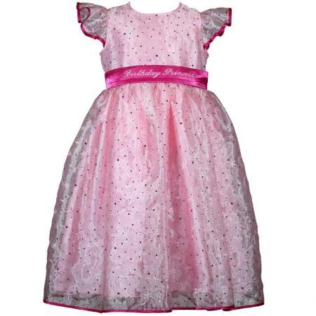 Girls Pink Sparkle Princess Birthday Dress