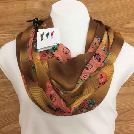 pink-rose-print-tan-chiffon-infinity-scarf